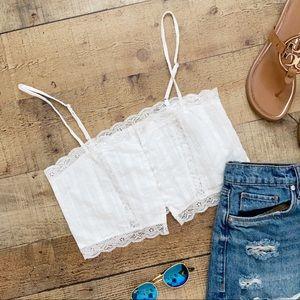 ⭐️Darling Little Summer Crop Top in WHITE